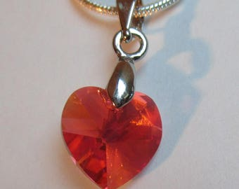 ♥ Lovely ♥ Padparadscha AB 10.3 x 10 mm Swarovski Crystal heart pendant
