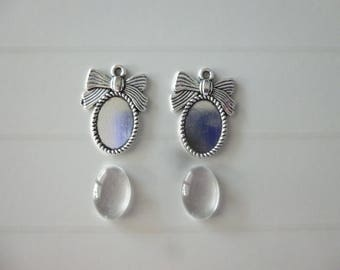 Set of 2 brackets node cabochon cameo 10x13mm + 2 glass cabochons