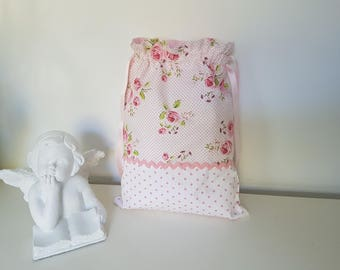 Pink floral cotton fabric and polka dots pouch