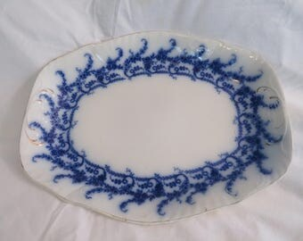 Antique, Venus Royal Semi-Porcelain, serving tray, blue trim