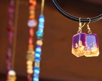 Handmade earrings with gold flake