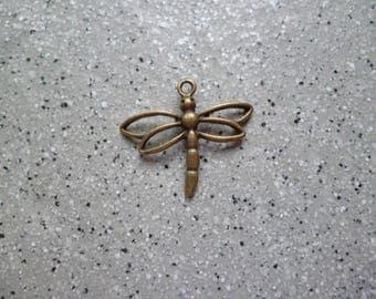 Dragonfly charm 1 metal bronze 27 x 30 mm