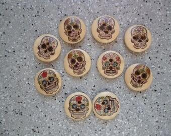 10 buttons skulls fancy wood 15 mm