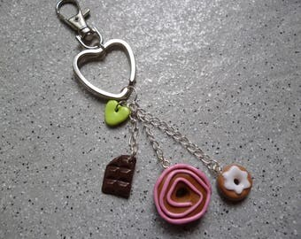 Jewelry bag Keychain donuts and chocolate in Fimo