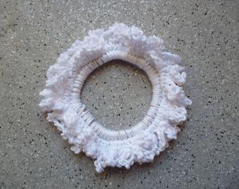 Handmade crocheted cotton, elastic hair tie