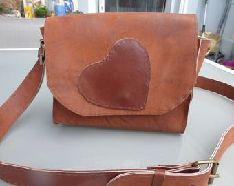 Small brown distressed leather shoulder bag