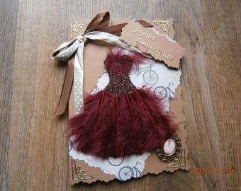 Birthday card, little collection dress with feathers, vintage look