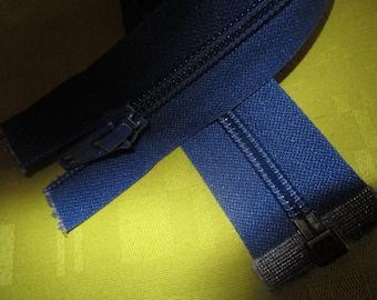 separable hard blue nylon zip