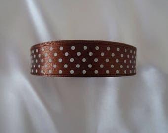 Satin - 2 cm - chocolate-colored POLKA dots Ribbon
