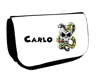 Clutch black makeup /crayons skull and snake personalized with name