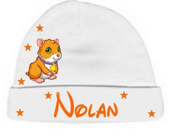 White pig baby hat from India personalized with name