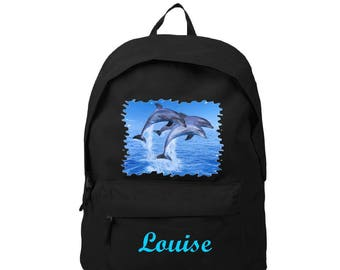 Black backpack, dolphins, personalized with name