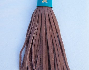 Large tassel in pink and turquoise, handcrafted leather, tassel 15cm + clip