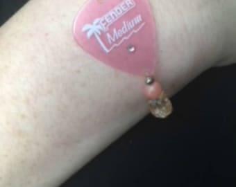 Pink gemstone & glass guitar pick bracelet