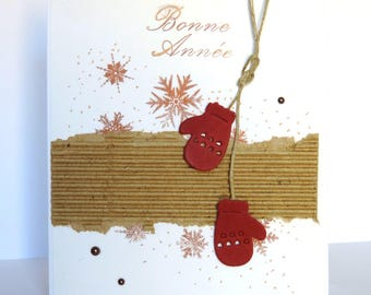 new year greeting card, colors: red, kraft, white