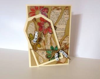 card and signs, paper, beads and linen thread, scrapbooking. Gift all occasions