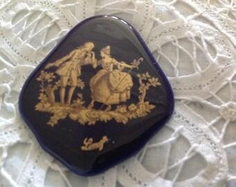 Antique Limoges porcelain, cobalt blue cabochon