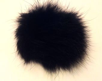 Charm black angora fur - ball 8 cm