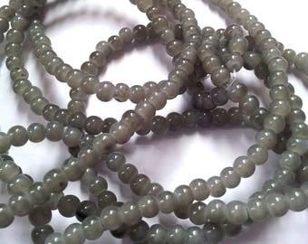 Set of 30 glass imitation jade - grey - 4 T 13 mm beads