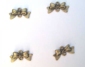 4 bronze bow charms