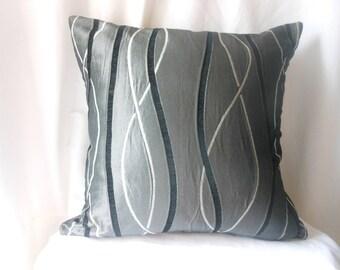 Asymmetrical gray woven fabric pillow cover
