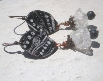 Earrings: Black - white - grey - primitive graphics and spun glass bells version