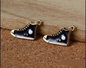 5 charms enamel gold sneakers black, 20 * 12mm
