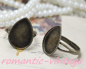 5 rings adjustable stand bronze form drop 25 * 18mm cabochon
