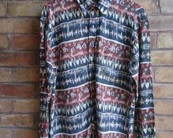Vintage multiple print long sleeve shirt