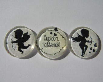 Set of 3 cabochons 20 mm with an image of angels on a background theme peas