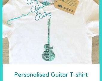 Personalised Guitar Printed Name Kids & Baby T-shirt, One-piece, Romper, Bodysuit, Onesie, Custom Made