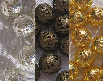 50 bead caps 8mm beads bronze metal balls nickel free gold gilded silver colours: * 8 * J122 * O26