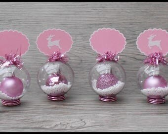 "6 places ""baubles"" brand-Shabby chic pink and White Christmas table decor"