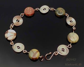 Artisan, Hand Forged Picasso Jasper and Copper Spirals Bracelet