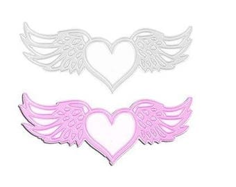 Cut out hearts with wings scrapbooking