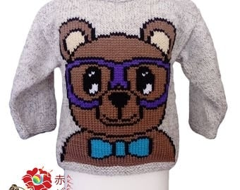 """Sweater """"bear with glasses"""" boy child"""