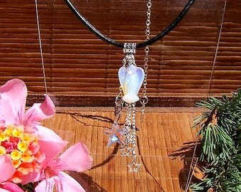 """Leather necklace and Opal pendant and star Swarovski """"Mumure of Angels"""""""