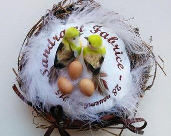 holder: love - family birds nest and eggs / wedding pillow