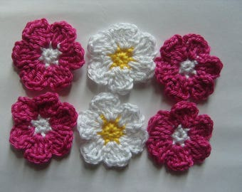 Crochet flowers appliques, cotton, set of 6