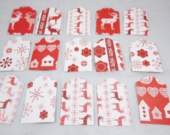 "Set of 15 tags ""Scandinavian Christmas"" - REF ENSCRAP01"