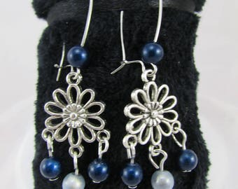 """Flowers & blue"" earrings"