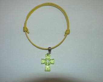 Lime green waxed cotton bracelet with transparent cross born