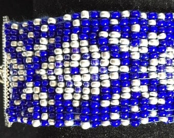 Blue and silver beadwork Cuff Bracelet