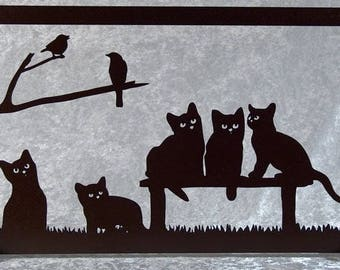 Kittens - frame silhouette wood cut with 5 cats
