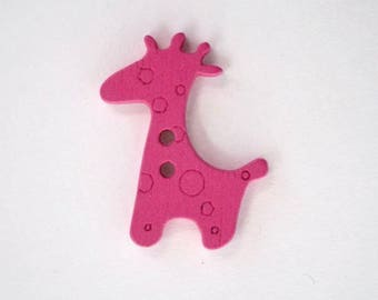 Wood giraffe button: Rose x 10 001919