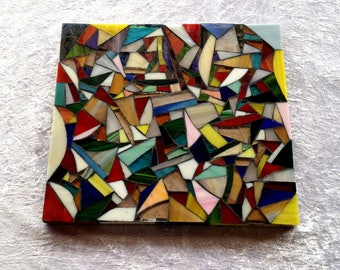 Below flat mosaic - glass - stained glass - holder wood (10)