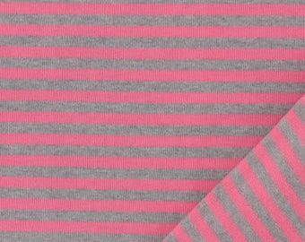 Gray stripe jersey fabric and pink 100% cotton