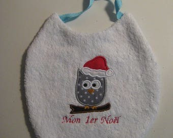 "My first Christmas Baby bib ""An OWL on branch"""