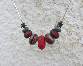 Crew neck chain silver serpentine and handmade glass beads red and grey, Hematite stars silver