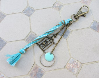 bag charm - key ring hook bronze charms, turquoise, green, sequin enamelled, weaving, kumihimo, bronze metal bird cage
